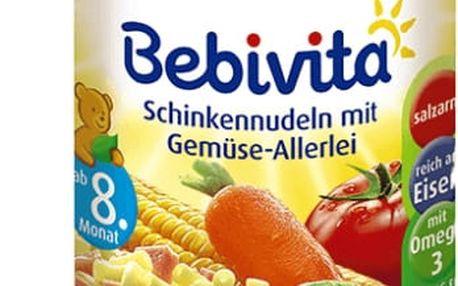 6x BEBIVITA Těstoviny se šunkou a zeleninovou směsí (220 g) - masozeleninový příkrm