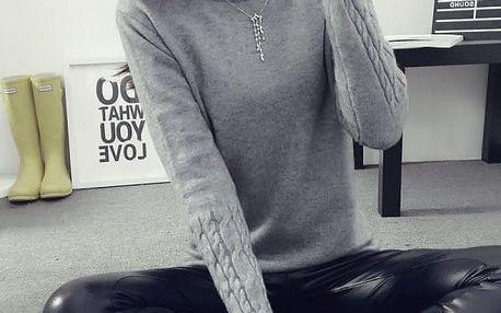 Dámský pletený svetr - varianta s rolákem i bez