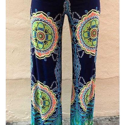 Dámské kalhoty v palazzo stylu se zajímavým motivem - velikost 1 - dodání do 2 dnů