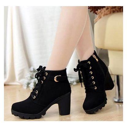 Dámské podzimní boty na podpatku - 3 barvy