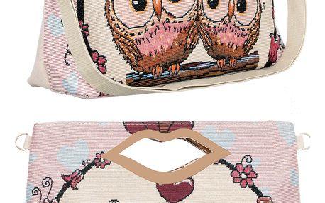 Fashion Icon Dámská kabelka Lips Retro Sovíčky růžová