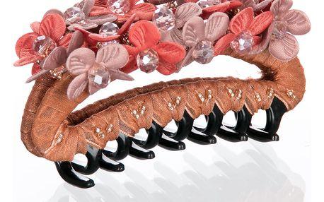 Fashion Icon Skřipec do vlasů kytka a kaminky 1 ks