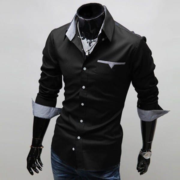 Ležérní pánská košile s kontrastní vnitřní látkou