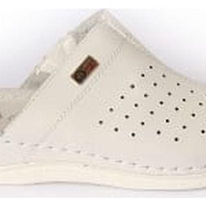 Dámské zdravotní pantofle s plnou špičkou koka bílé