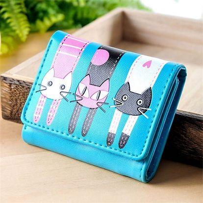 Dámská krátká peněženka se třemi kočkami - dodání do 2 dnů