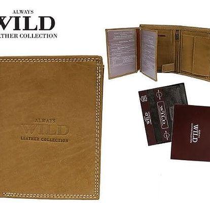 Pánská peněženka z pravé kůže ALWAYS WILD písková N4-MHU