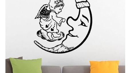 Samolepka na zeď - Měsíc s andílkem