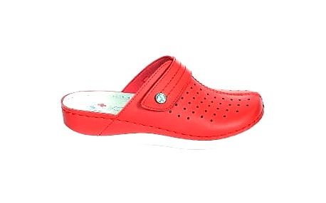 Dámské zdravotní pantofle s plnou špičkou koka červená
