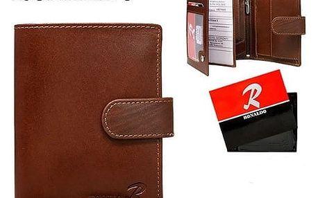 Pánská peněženka z pravé kůže RONALDO hnědá