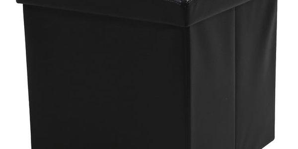 Černá taburetka s odkládacím prostorem Auf