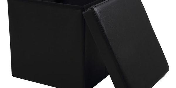 Černá taburetka s odkládacím prostorem Auf2