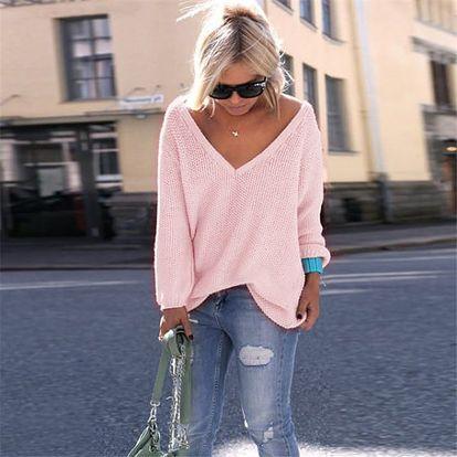 Ležérní pletený svetřík s véčkovým výstřihem - 10 barev