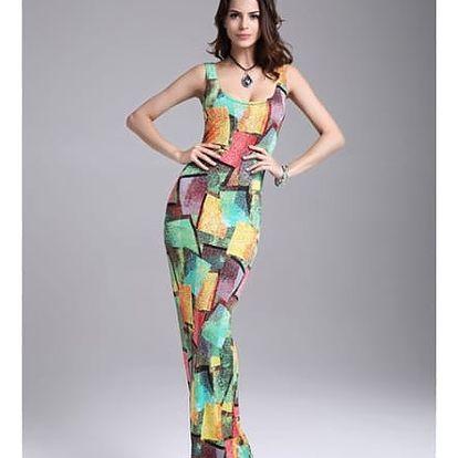 Dámské dlouhé šaty s barevnými vzory