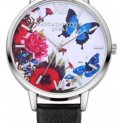 Dámské hodinky s motýlky a květinami - 9 barev