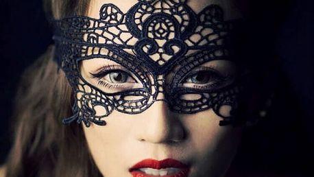 Černá krajková maska deluxe - dodání do 2 dnů