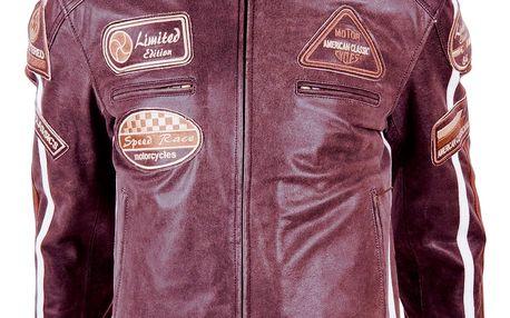 Kožená moto bunda BOS 2058 Mahagon Barva mahagonová, Velikost L