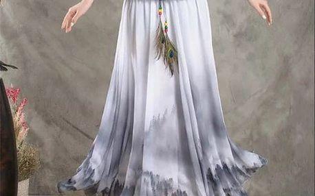Rozmanitá sukně s ozdobným pavím pírkem na léto - dlouhá