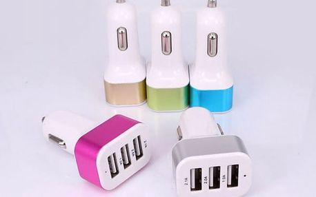 Nabíječka do automobilu se 3 USB sloty - stříbrná barva - dodání do 2 dnů