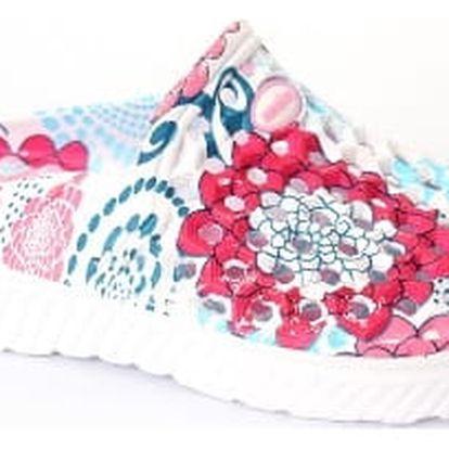 Kvalitní dámské gumové pantofle FLOWER PINK