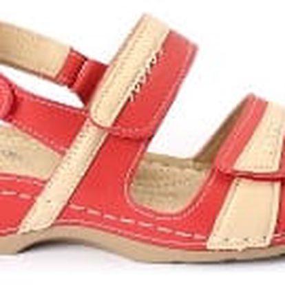 Dámské zdravotní sandále koka 2 červená/béžová