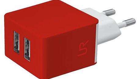 Trust USB nabíječka 5W, 2xUSB 1A, červená - 20149