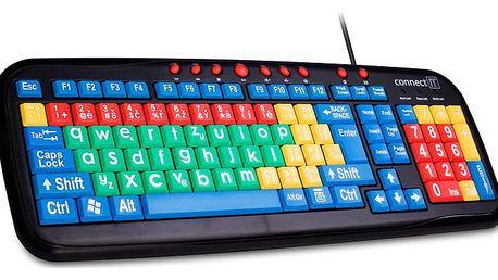 CONNECT IT Kontrastní barevná klávesnice pro děti, USB - CI-72