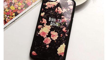 Květované kryty na telefon s nápisy pro iPhone 5 - 7 plus