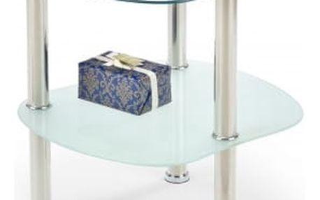 Arya - Konferenční stolek (Sklo/kov, police mléčné sklo)