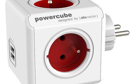 PowerCube ORIGINAL USB rozbočka-4 zásuvka, červená