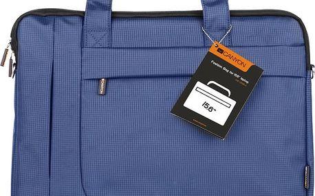 """Canyon CNE-CB5BL3, elegantní taška na notebook do velikosti 16"""", modrá + Klávesnice Canyon CNE-CKEY01, CZ v ceně 149 Kč"""