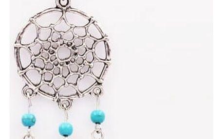 Náhrdelník s přívěskem v podobě lapače snů - stříbrná barva - dodání do 2 dnů