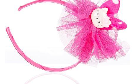Dětská čelenka s mašli a kočičkou růžová