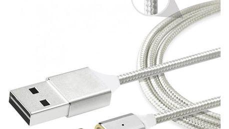 Micro USB kabel s magnetickým konektorem - 1 m - stříbrná barva - dodání do 2 dnů