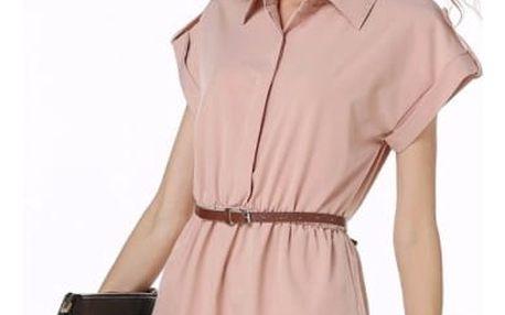 Dámské krátké šaty s límečkem a páskem - 5 barev