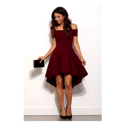 Společenské šaty s odhalenými rameny a asymetrickou sukní - 3 barvy