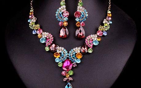 Sada náušnic a náhrdelníku s kamínky - 5 barev