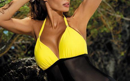Žluto-černé push-up plavky Priscilla