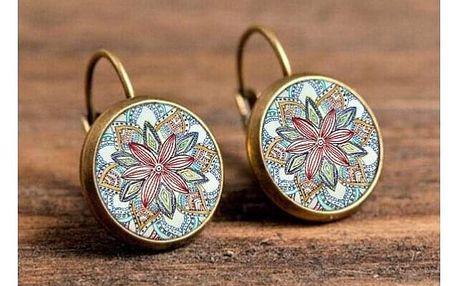 Náušnice s motivem mandaly v podobě barevné květiny