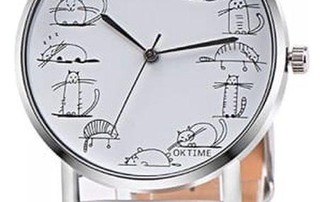 Dámské hodinky s kreslenými kočičkami - dodání do 2 dnů
