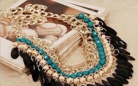 Masivní náhrdelník s korálky ve více barvách