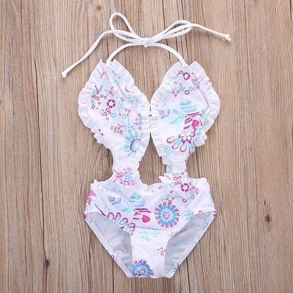 Plavky pro malé holčičky s květinovým vzorem