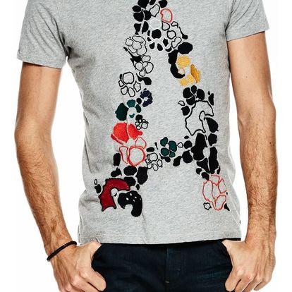 Scotch&Soda šedé pánské triko s barevnými výšivkami - M