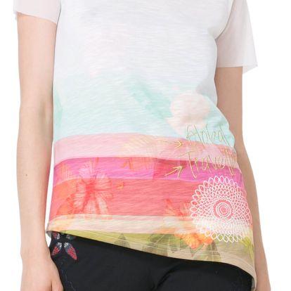 Desigual barevné tričko Asimetric Polynesia - S