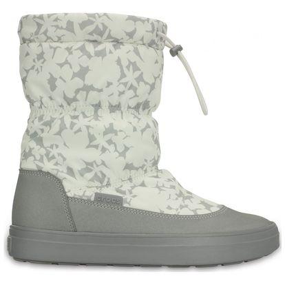 Crocs šedo-bílé sněhule Lodgepoint Pull-on Boot Oyster - W10
