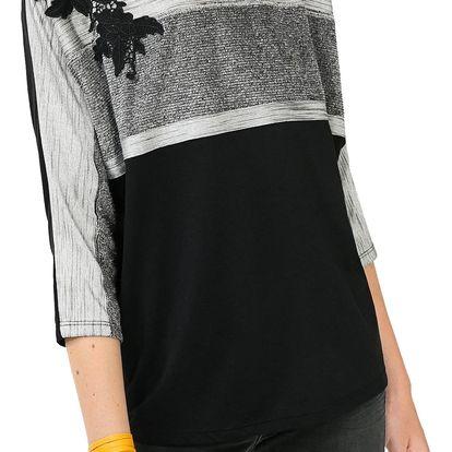 Desigual černé triko Lia Rep - L