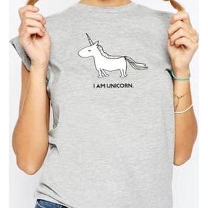Šedé tričko s jednorožcem a nápisem