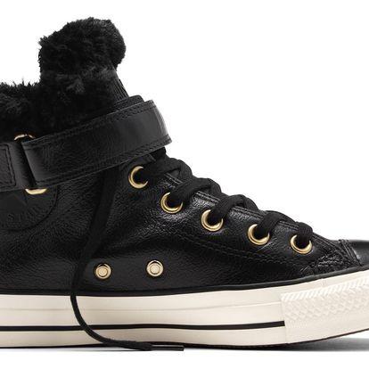 Converse černé kožené dámské boty Brea s kožíškem - 39,5