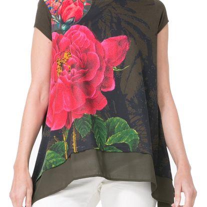 Desigual khaki triko Floriana - XL