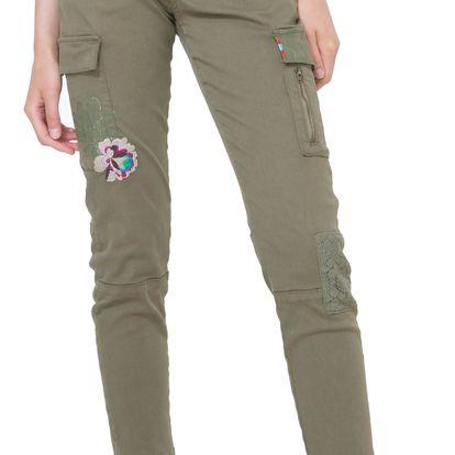 Desigual khaki kalhoty Luz v boho chic stylu - 46