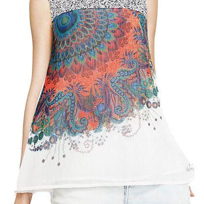 Desigual bílý top Rosa s barevným potiskem - XL